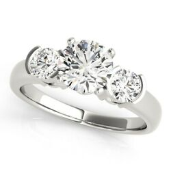 1.10 Ct Real Diamond Three-stone Engagement Solid 14k White Gold Ring Size 5 6 7