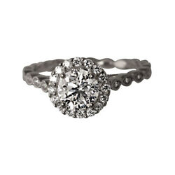 Solid 14k White Gold Round 0.85 Ct Diamond Natural Engagement Bands Set Size 8 9