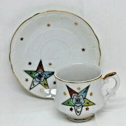 Lefton China Order Of The Eastern Star Tea Cup And Saucer Masonic Oes P312