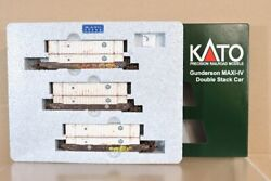 Kato 106-6163 N Weathered Bnsf Gunderson Maxi-iv Double Stack Container Car Nv