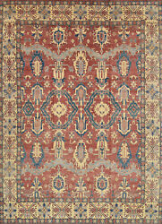 Geometric Kazak Rug 13and039x18and039 Red/beige Hand-knotted Wool Pile