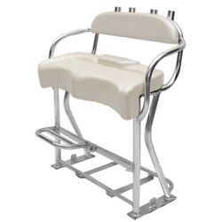 Boat Leaning Post Seat   Rod Holders 43 Inch Pearl Single Footrest