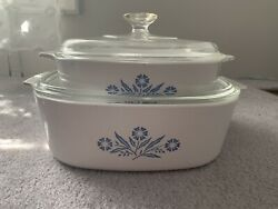 Vintage Early 60s Corning Ware Blue Cornflower 2 And 4 Quart Casserole Dish And Lids