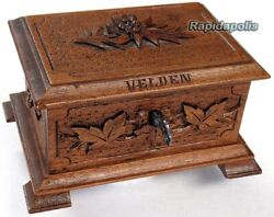 Antique Austrian Sewing Or Jewelry Chest Handcarved Walnut With Edelweiss + Key