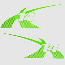 Boat Model Decal 7501410   Mastercraft 2012 X-14 / Lime Green Pair