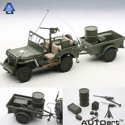 Autoart 118 Jeep Willys Diecast Car Model Army Green With Trailer And Accessories