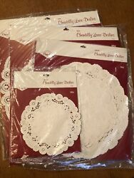 """Vintage White Chantilly Lace 12, 10"""", And 6"""" Paper Doilies Lot 4 Pkgs New Party"""