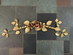 Mid Century Metal Brass Gold Roses Leaf Branch 1960s Wall Decor Vintage