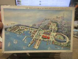 B Vintage Old Ohio Postcard Cleveland Birdseye View Great Lakes Expo And Stadium
