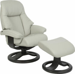 Fjords Alfa Large Recliner Chair And Ottoman Al Shadow Grey Leather Lounger