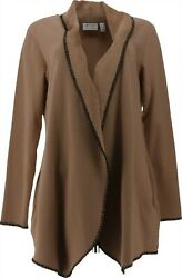 Denimand Co Lush Lined Open-front Long-sleeve Jacket Mocha S New A372294