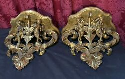 Pair Of Antique Italian Figural Carved Gilt Wooden Shelves With Putti