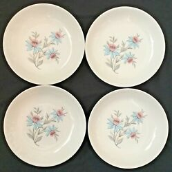 Vtg Steubenville Pottery China 48 Soup Bowls Fairlane Pink And Blue Floral Usa