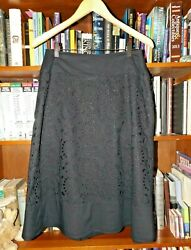 Isda And Company Black Cotton A Line Style Cut Work Skirt Lined Size 8 Euc