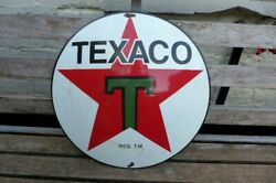 Vintage Enamel Texaco Metal Sign Painted Poster Wall D-48.5 Cm Collector