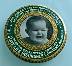 1910 The State Life Insurance Company Pocket Advertising Mirror Indianapolis In