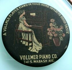 1900 Vollmer Player Piano Co Of Chicago Graphic Pocket Advertising Mirror