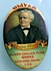 1900 Oliver Chilled Plow Works South Bend Graphic Pocket Advertising Mirror
