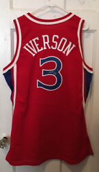 New Autographed Allen Iverson 1996-97 76ers Road Jersey Size 44+2 Issued Pro Cut