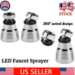 Kitchen Sink Faucet Spray Shower Head Spayer Automatic 3 Colors Led Light