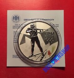 3 Roubles 2014 Russia Xxii Olympic Winter Games Biathlon Silver Proof