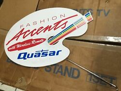 Vintage Quasar Tv Store Display Stand Fashion Accents W/ Sign Japan