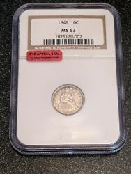 1848 Liberty Seated Dime 10c Rare And Gorgeous Ngc Ms-63