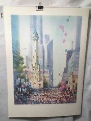 Carolyn Anderson Chicago Water Tower Marathon S/n Lithograph Print 22 X 31