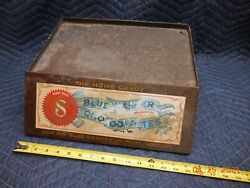 Antique Vintage General Store Blue Banner Chocolate Counter Display Tin Sign