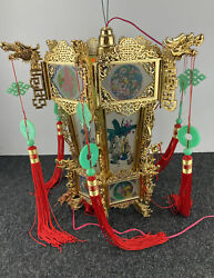 """Vintage Full Size Chinese Hanging Palace Lantern Hand Paint Glass 16"""" W X 17"""" H"""