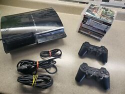 Sony Ps3 Cecha01 Console 10 Games 2 Controllers Cables Backwards Compatible