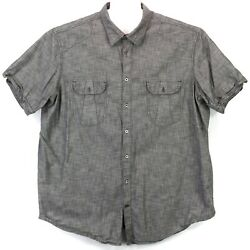 The Foundry Supply Co Men's 2XLT Tall Button Shirt Short Sleeve Solid Gray euc