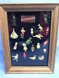 Cracker Jack Prize Toys Charms 20 Pieces Framed Includes An Article Vintage