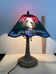 Andnbspantique Arts Crafts Nouveau Deco Glass Shade Cast Iron Base Pond Lilly Cat Tail