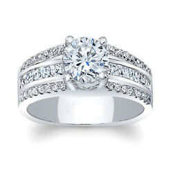 Round Cut Moissanite 1.41 Ct 14k White Gold Solitaire Ladies Ring Size 5 6 7 8 9