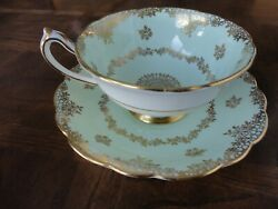 Paragon Bone China Teacup And Saucer Green And Gilt Double Sign By Appointment