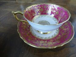 Paragon Bone China Teacup And Saucer Burgundy And Gilt Double Sign By Appointment