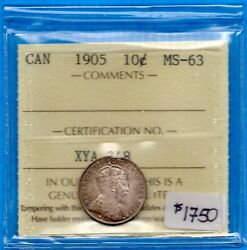 Canada 1905 10 Cents Ten Cent Silver Coin - Iccs Ms-63