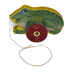 1940's Wood Green Frog Pull Toy-the Gong Bell Mfg. Co-vintage