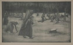 Wood Collector In Walde . Original-lithographie From Pan 1899
