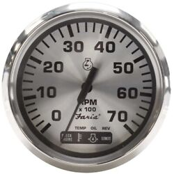 Faria Boat Multifunction Tachometer Gauge Tc9490a   3 1/4 Inch Silver