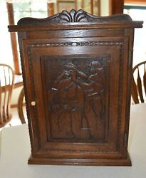Fabulous Vintage Carved Norse Mythology Wall Chest Cabinet Loki And Thor's Hammer