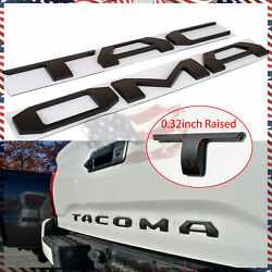 3d Raised Tailgate Insert Letters Fits For 2016-2021 Toyota Tacoma Matte Black