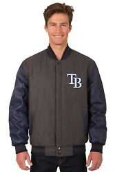 Mlb Tampa Bay Rays Wool And Leather Reversible Jacket With 2 Front Logos Black