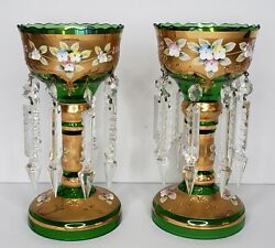 Rtl Czech Bohemian Gold Encrusted And Enamel Mantle Luster's W/crystal Prism Spear