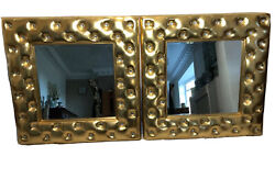 Pair Fine Square Chesterfield Style Fibreglass Gold Framed Beveled Wall Mirrors
