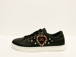 Dolce And Gabbana Womens Leather Sneakers Black Heart Low Top Size 37 7 Us