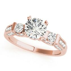 1.03 Ct Real Diamond Solid 14k Rose Gold Women Anniversary Ring Size 4 5 6 7 8 9