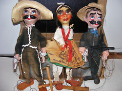 3 Mexican Marionettes Puppet Dolls Outlaws 2 Gun Wielding Bandits Western Saloon