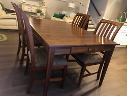 Ethan Allen Solid Cherry Dining Set W/ 2 Leaves, 8 Chairs, And Pads